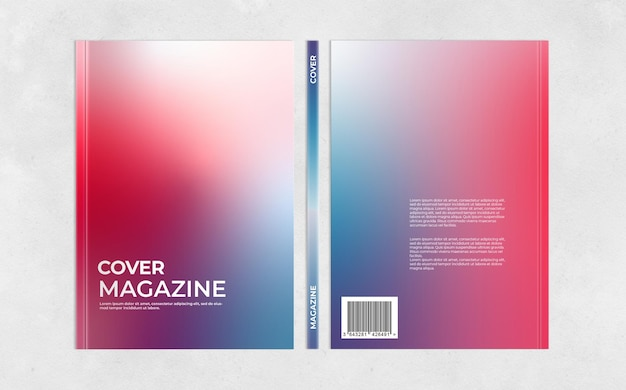Maquette de magazine de couverture à trois vues