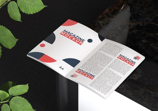 Maquette De Magazine Avec Motif De Feuillage PSD Premium