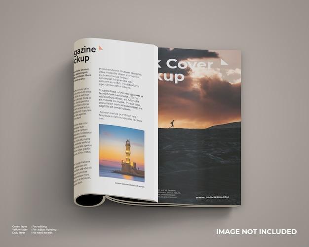 Maquette de magazine pliée côté droit à l'intérieur et couverture avant