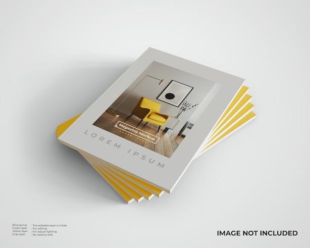 Maquette de magazines empilés à droite. vue de dessus