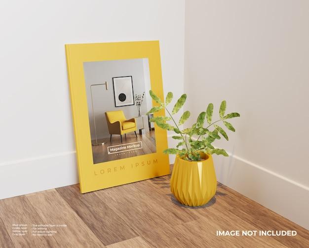 Maquette de magazines avec plante