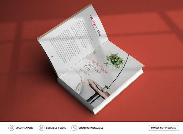 Maquette de maquette de conception de livre à couverture rigide ouverte