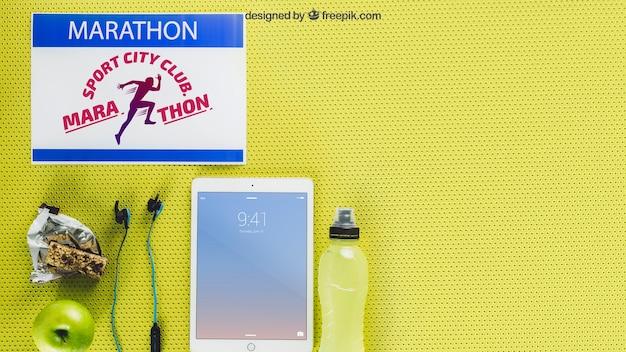 Maquette de marathon avec tablette