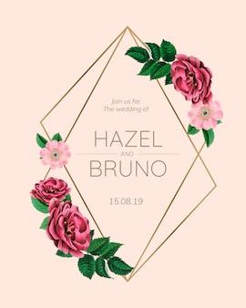 Maquette de mariage avec des roses