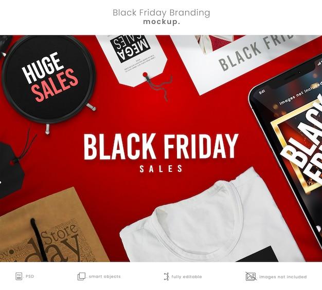 Maquette de marque complète du black friday avec maquette de téléphone intelligent