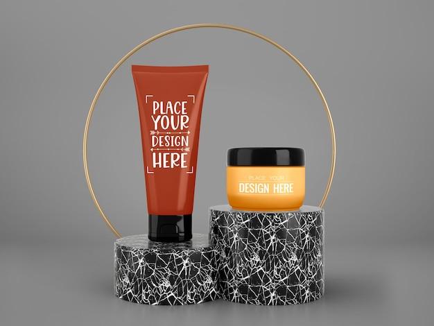 Maquette de marque de cosmétiques. package pour la marque et l'identité. prêt pour votre conception