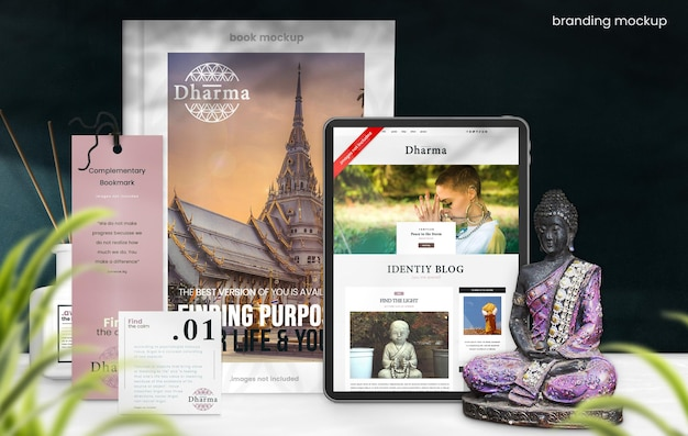 Maquette de marque d'entreprise pour l'identité de marque spirituelle orientale