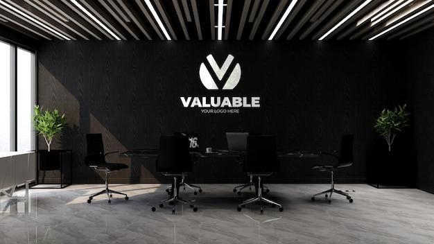 Maquette de marque de logo 3d dans l'espace de réunion du bureau avec ordinateur portable sur table