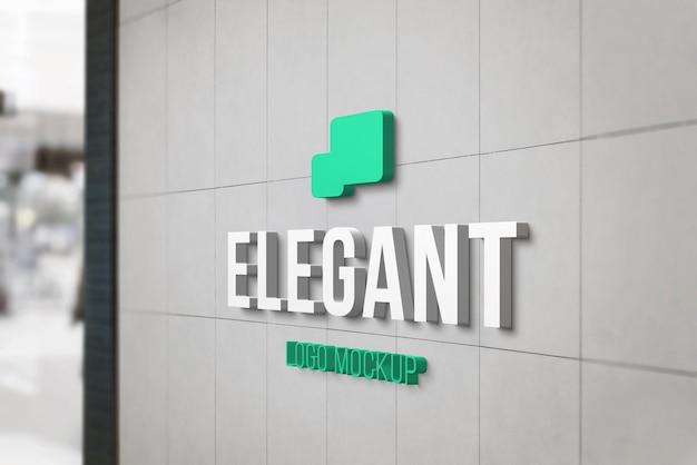 Maquette de marque de logo 3d à l'entrée du magasin