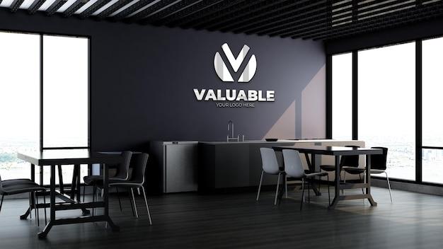 Maquette de marque de logo d'entreprise en 3d dans le garde-manger ou la cuisine du bureau moderne