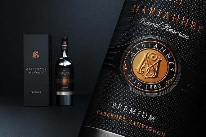 Maquette de marque de logo de vin de luxe et réaliste