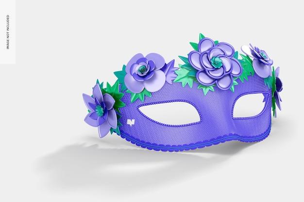 Maquette de masque demi-visage vénitien floral