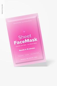 Maquette de masque facial en feuille, penchée