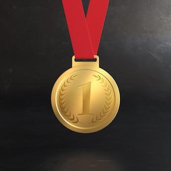 Maquette De Médaille D'or Pour La Première Place PSD Premium