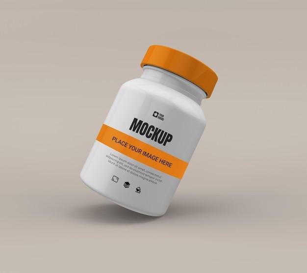 Maquette de médecine bouteille pilule isolée