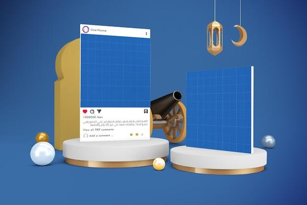 Maquette des médias sociaux du ramadan