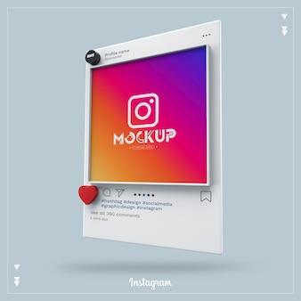 Maquette de médias sociaux instagram 3d