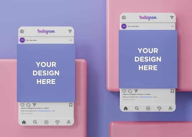 Maquette de médias sociaux d'instagram et de présentation de l'application ui ux rendu 3d