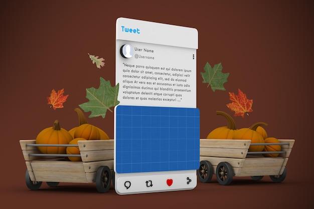 Maquette de médias sociaux de thanksgiving