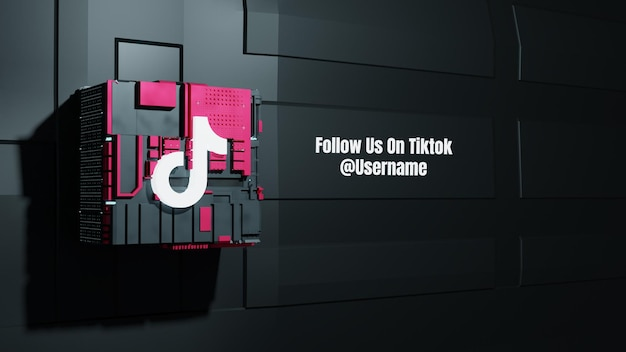La maquette des médias sociaux de tiktok nous suit avec l'arrière-plan de la technologie de la future boîte 3d