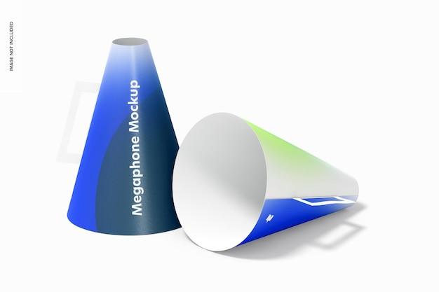 Maquette de mégaphone en papier, vue de face