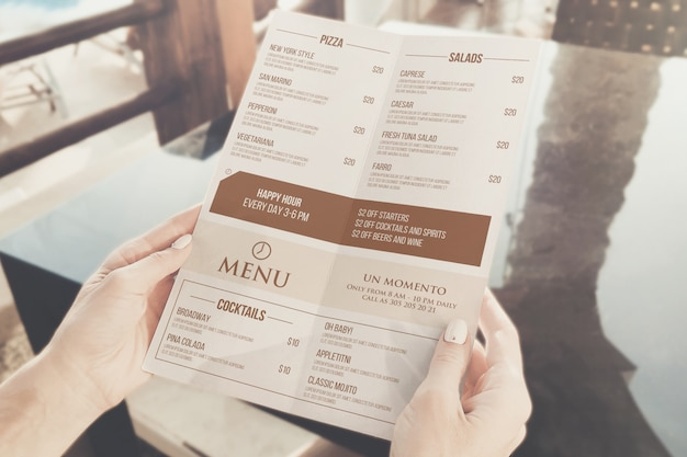 Maquette de menu de café