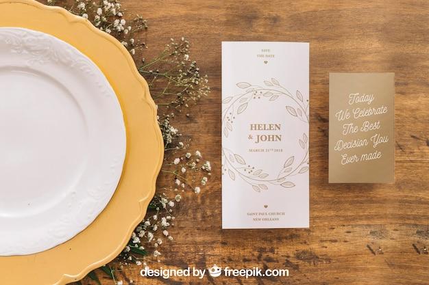 Maquette de menu de mariage
