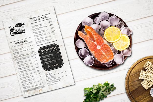 Maquette de menu de restaurant de fruits de mer