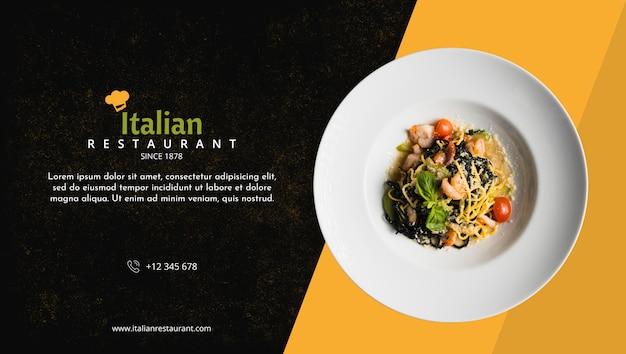 Maquette de menu de restaurant italien