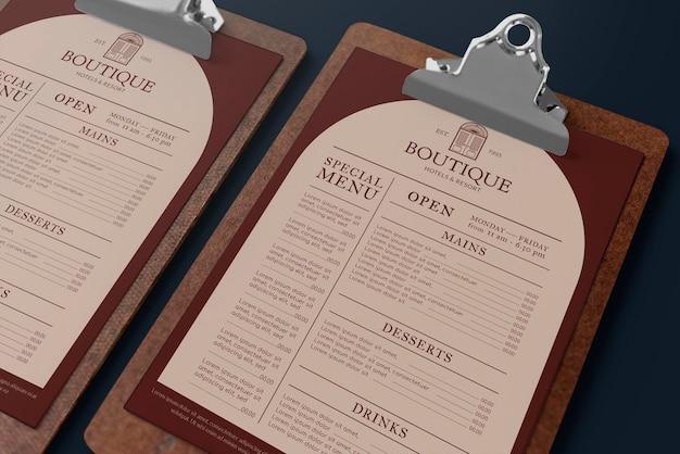 Maquette de menu de restaurant psd sur l'identité d'entreprise du presse-papiers