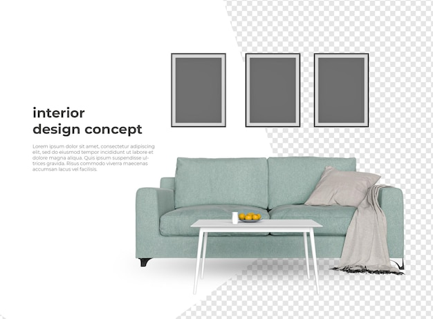 Maquette de meubles dans la conception de rendu 3d