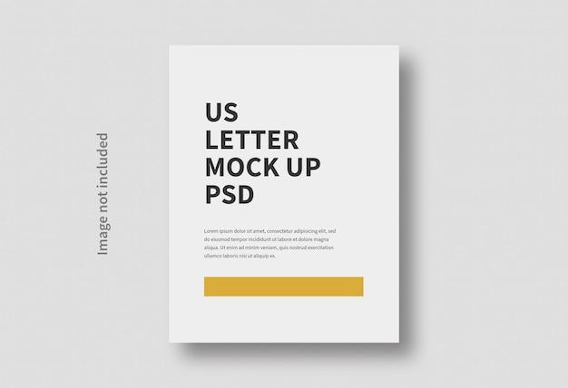 Maquette minimale de taille de page de lettre us réaliste isolée