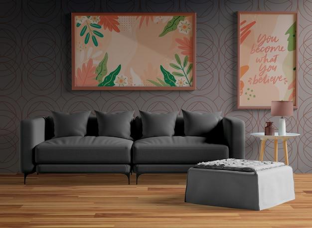 Maquette minimaliste de cadres en bois accrochée au mur