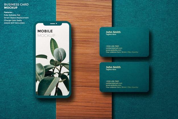 Maquette de mobile et de carte de visite de luxe