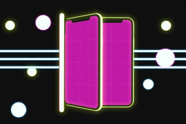 Maquette de mobiles néon