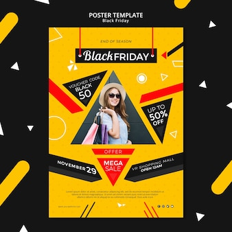 Maquette de modèle d'affiche vendredi noir