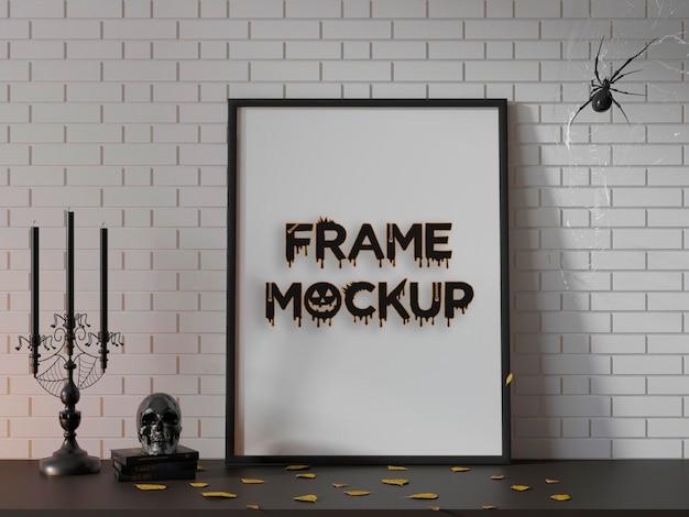 Maquette de modèle de cadre halloween réaliste psd premium