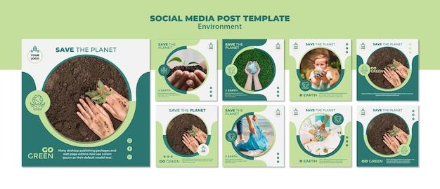 Maquette de modèle de publication de médias sociaux sur l'environnement