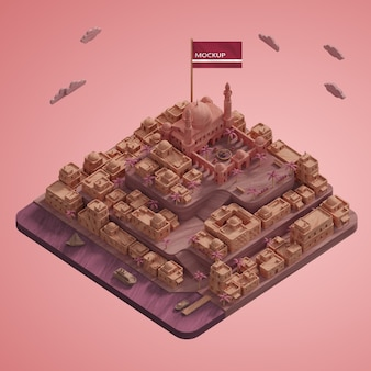 Maquette de modèle de repère de villes 3d