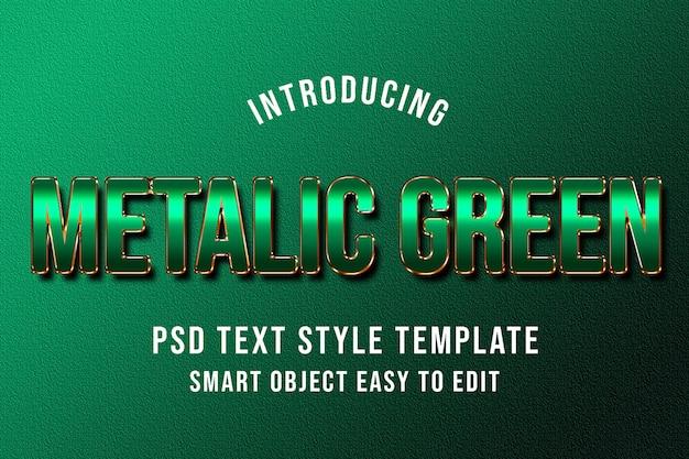 Maquette de modèle de style de texte psd vert métallique