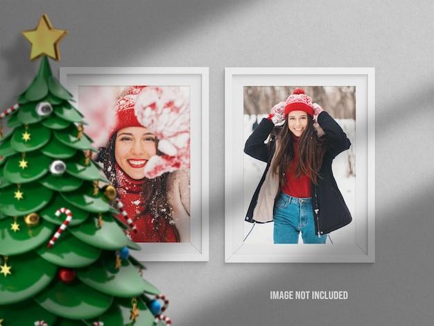 Maquette ou moodboard de cadre photo réaliste et minimaliste pour joyeux noël et bonne année avec décoration de rendu 3d