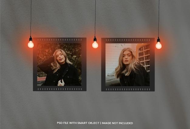 Maquette de moodboard de cadres photo avec effet de lumière premium psd