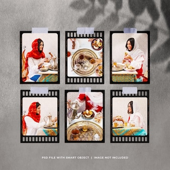 Maquette moodboard de cadres photo ramadan