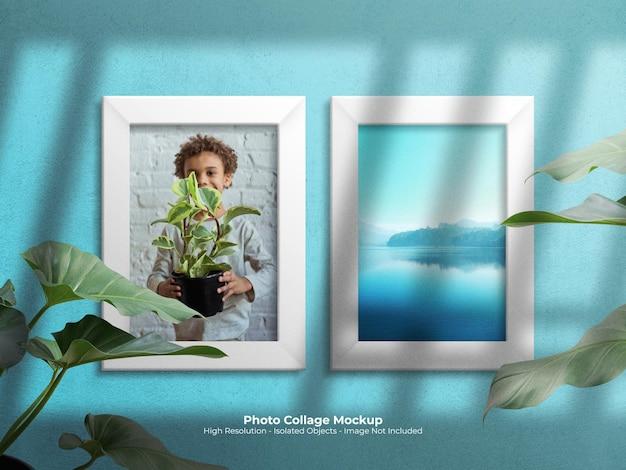 Maquette de moodboard avec collage de photos et composition de papier déchiré scotché