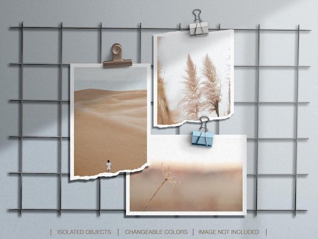 Maquette de moodboard mural avec cadre photo déchiré