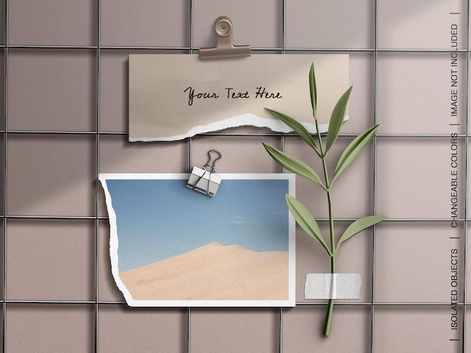 Maquette de moodboard de papeterie avec collage de carte de cadre photo déchiré