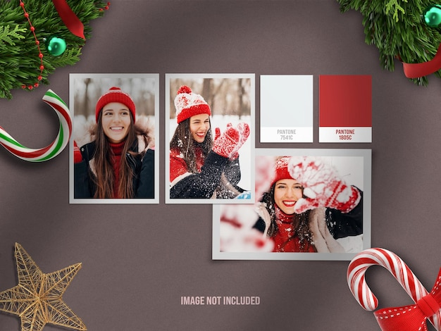 Maquette de moodboard réaliste et minimaliste ou maquette de cadre photo en papier pour joyeux noël et bonne année