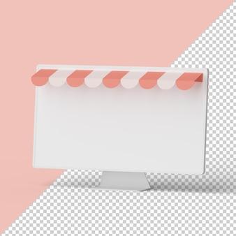 Maquette de moteur d'écran blanc rendu 3d isolé