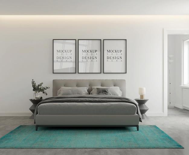 Maquette de mur et d'affiche dans une chambre monochromatique moderne rendu 3d
