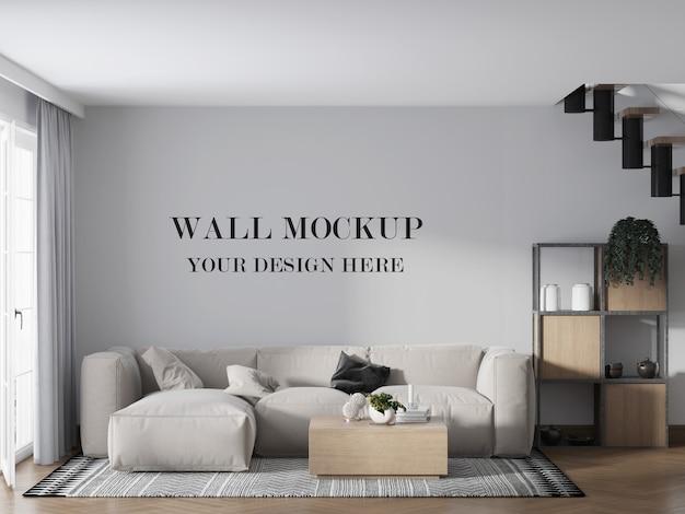 Maquette de mur au premier étage derrière un canapé élégant